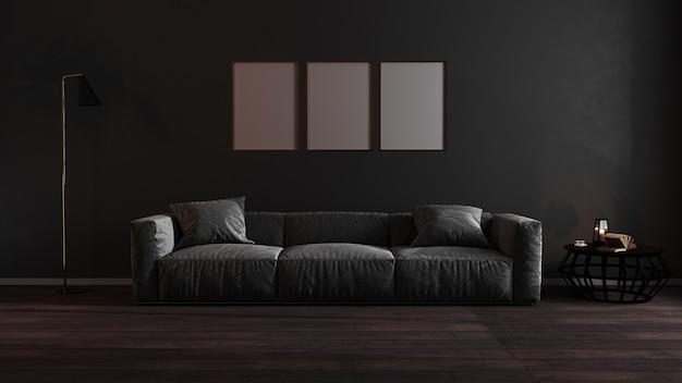 Los marcos verticales dorados se burlan en la oscura sala de estar de lujo