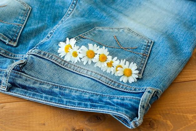 Margarita flores de patrones sin fisuras en el fondo de los pantalones vaqueros.