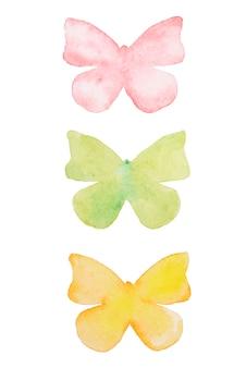 Mariposa acuarela. dibujado a mano hermosas mariposas conjunto aislado.