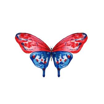 Mariposa acuarela roja y azul