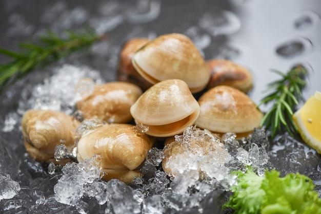 Mariscos en hielo congelado