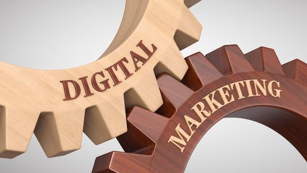 Marketing digital escrito en rueda dentada