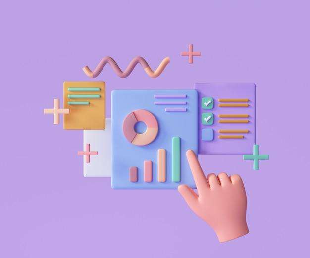 Marketing en línea, gráfico de informes financieros, análisis de datos y concepto de desarrollo web. ilustración de render 3d
