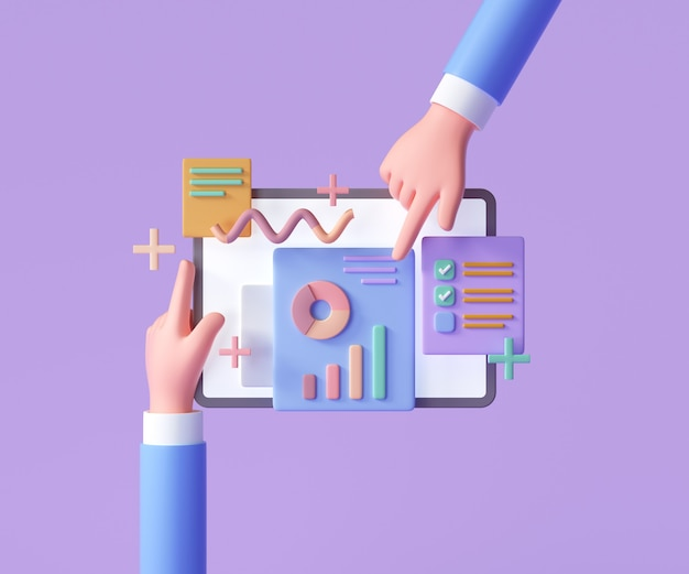 Marketing en línea, gráfico de informes financieros, análisis de datos y concepto de desarrollo web. mano que sostiene la tableta con tabla de datos. ilustración de render 3d