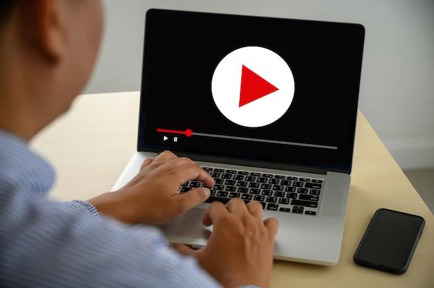 Marketing de vídeo audio video, canales interactivos de mercado, tecnología de medios de negocios, innovación, concepto de tecnología de marketing