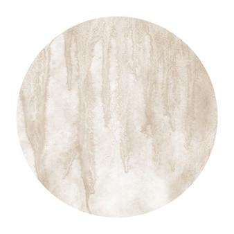 Marrón dibujado a mano acuarela marco circular textura de fondo con manchas