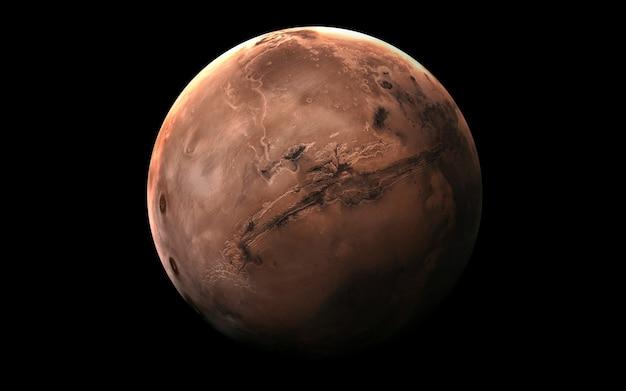 Marte en el espacio, ilustración 3d.