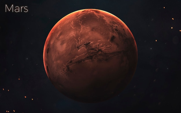 Marte. planetas realistas del sistema solar. elementos de esta imagen proporcionada por la nasa