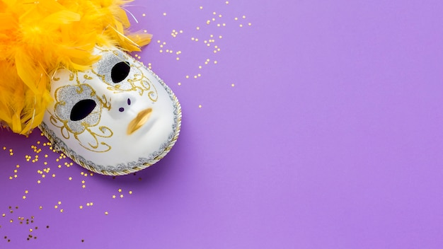 Máscara de carnaval con brillo y plumas.