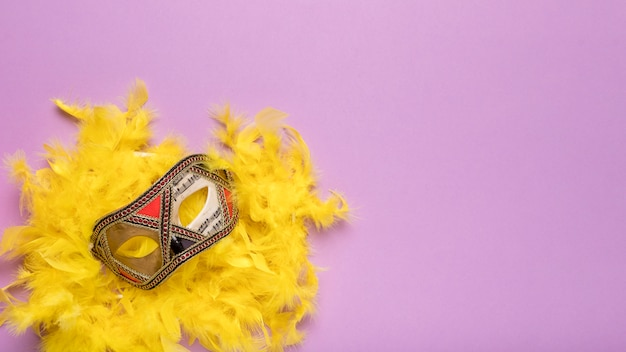 Máscara de carnaval dorado con boa de plumas amarillas y espacio de copia