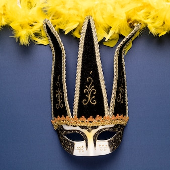 Máscara de carnaval negro con primer plano de boa de plumas amarillas