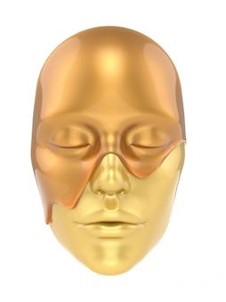 Máscara de la hoja de oro sobre fondo blanco render 3d