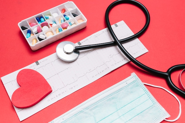 Máscara de primer plano y pastillas cerca de cardiograma y estetoscopio