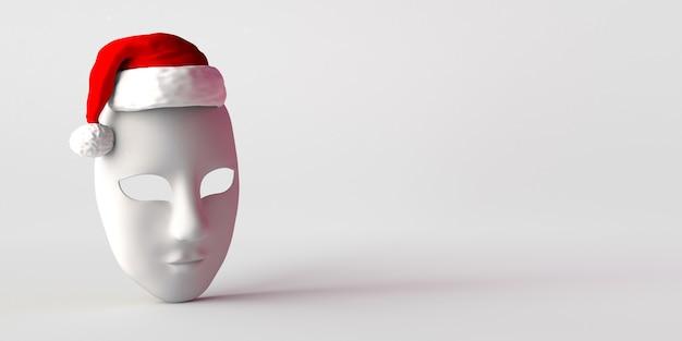 Máscara de teatro inexpresiva con sombrero de santa claus. copie el espacio. ilustración 3d.