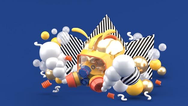 Máscaras de gas rodeadas de humo y bolas de colores en azul. representación 3d