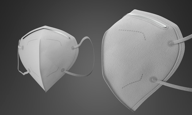 Máscaras médicas blancas con filtro sobre fondo gris degradado