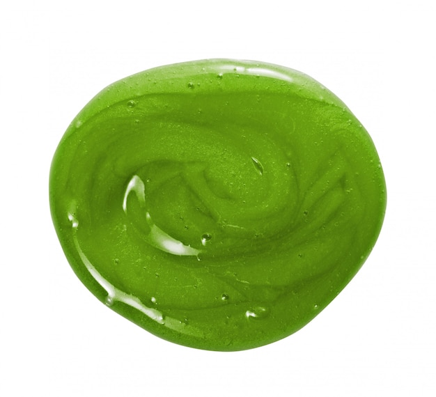 Mascarilla capilar, acondicionador, champú de textura cremosa. crema cosmética verde natural círculo swatch blob drop aislado
