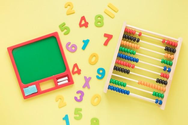 Matemáticas con números y ábaco.