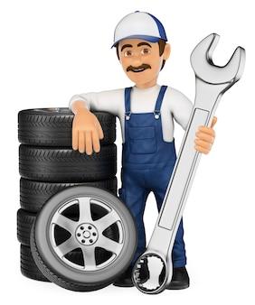 Mecánico 3d con una pila de neumáticos y una llave enorme