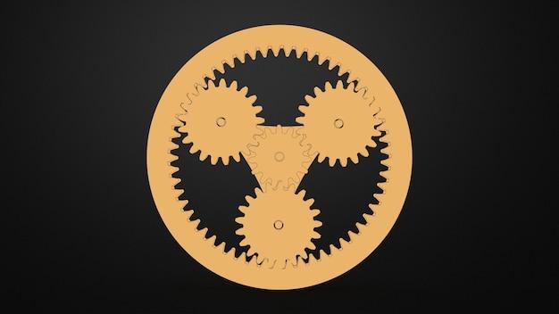 Mecanismo de engranajes planetarios de countur amarillo