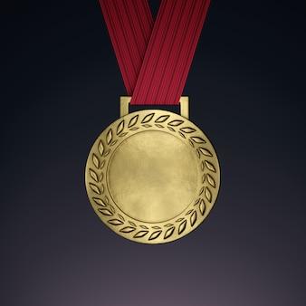 Medalla de oro en blanco con cinta. render 3d
