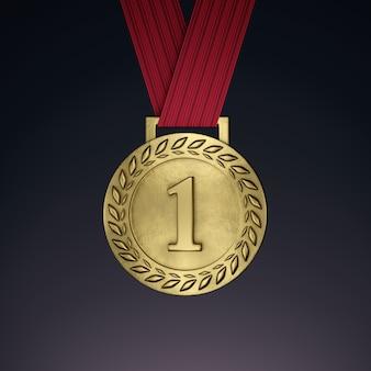 Medalla de oro con cinta. render 3d