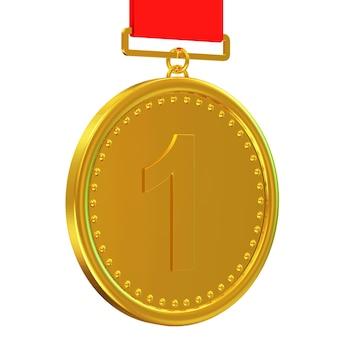 Medalla de oro con cinta roja aislado sobre fondo blanco.