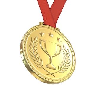 Medalla de oro en cinta roja, aislado sobre fondo blanco.