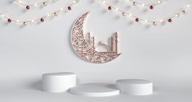 Media luna, mezquita con pedestales sobre fondo blanco - mes sagrado de ramadán kareem