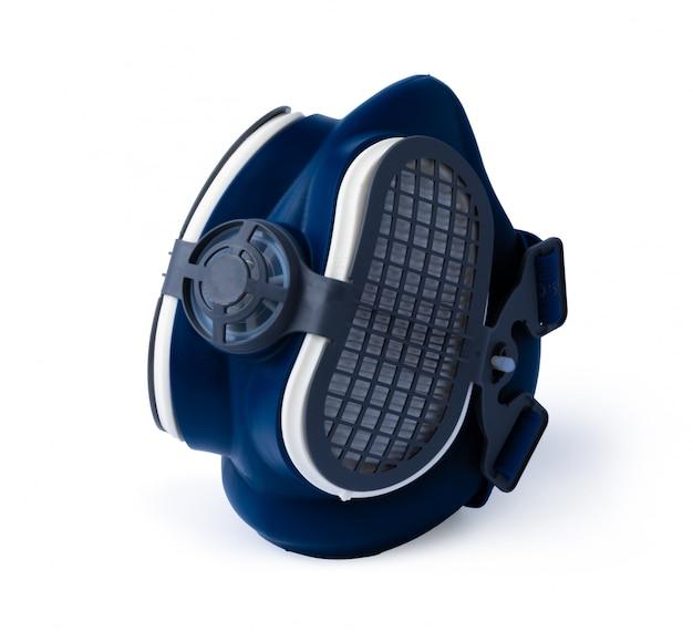 Media máscara de respirador azul aislada en blanco