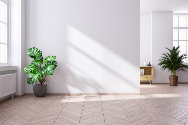 Mediados de siglo moderno y minimalista interior de sala de estar, habitación vacía, render 3d
