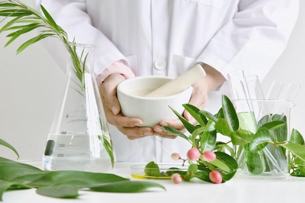 Medicina herbaria alternativa, mortero con hierbas botánicas curativas