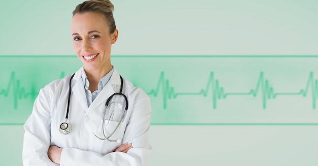 Medicina sonriendo copia del gráfico de ordenador bastante espacio