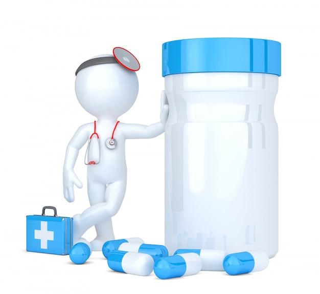 Médico 3d con pastillero. aislado. contiene trazado de recorte