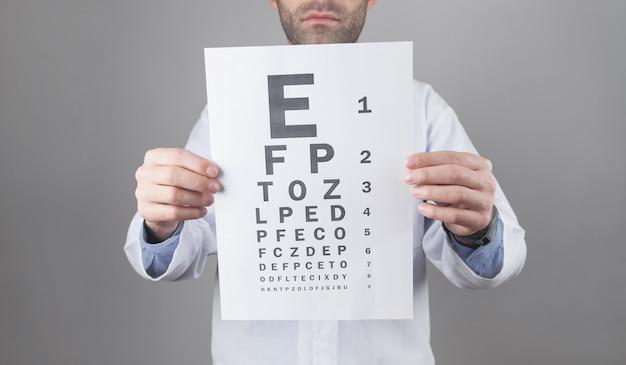Médico caucásico que muestra la prueba de examen de los ojos.