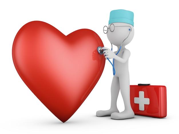 Médico con un estetoscopio y un corazón rojo.