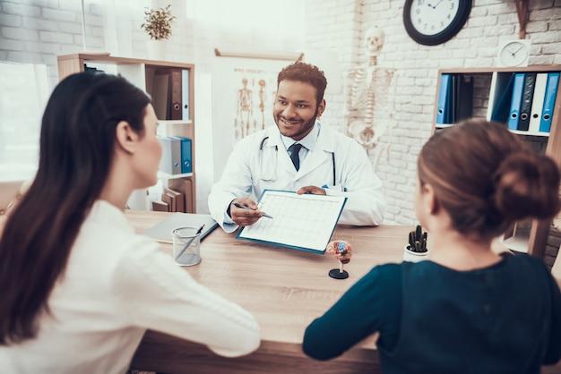Médico indio viendo pacientes en el consultorio.