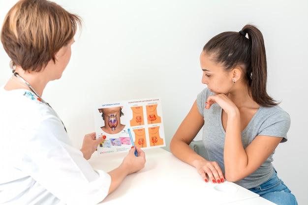 El médico le muestra al paciente un folleto sobre la glándula tiroides y sus funciones.