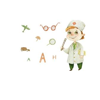 Médico oftalmólogo niños ilustración acuarela de carácter lindo aislado en blanco