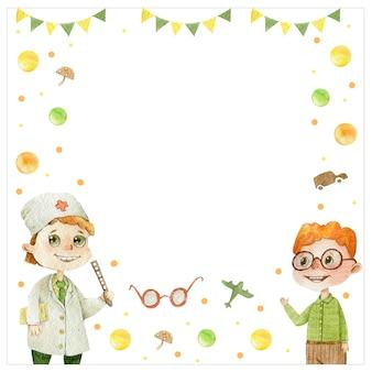 Médico oftalmólogo niños lindo niño pelo rojo personaje acuarela marco para ilustración de texto en blanco