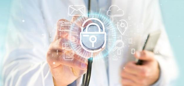 Médico sosteniendo un ícono de rueda de candado de seguridad con multimedia y representación en 3d del icono de redes sociales