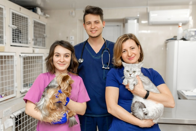 Médicos veterinarios con un perro y un gato.