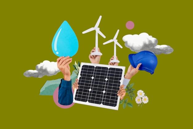 Medio ambiente de energía renovable psd panel solar medios remezclados