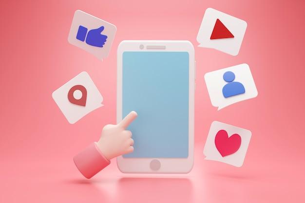 Medios de comunicación social con la mano apuntando al espacio de visualización azul vacío para publicidad de texto y signo de cuadro de icono, representación 3d
