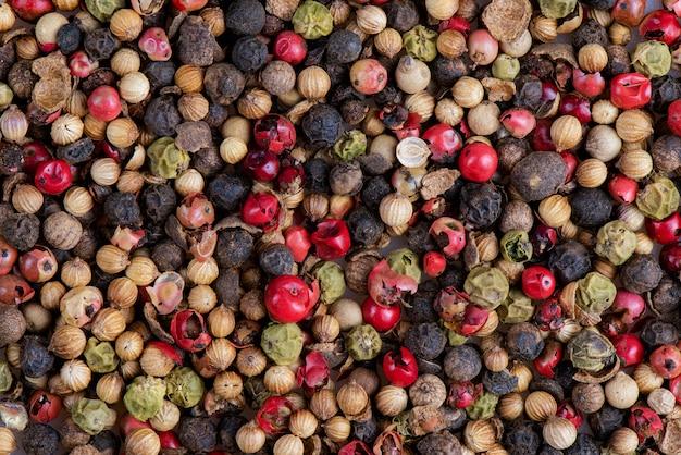 Medley peppercorns color full background