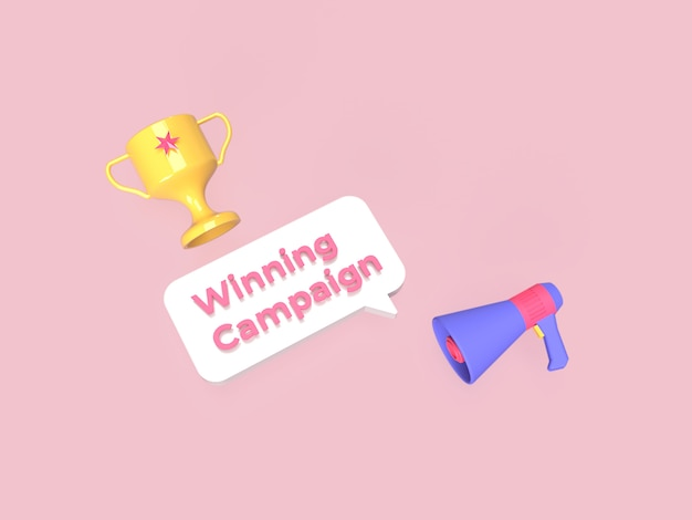 Megáfono 3d y texto de marketing digital con color de fondo rosa representado