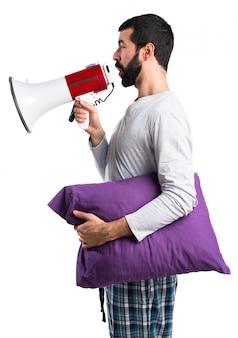 Megáfono, expresión, alto, plano de fondo, grito