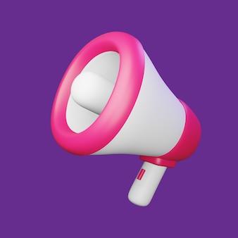 Megáfono de render 3d para maqueta de diseños publicitarios premium psd