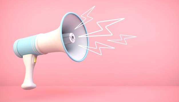 Megáfono de renderizado 3d sobre fondo rosa con ilustraciones de relámpagos
