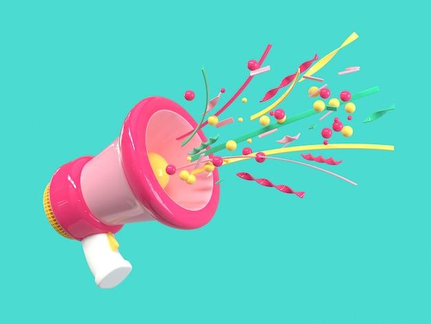 Megáfono rosa megáfono estilo de dibujos animados fondo verde render 3d